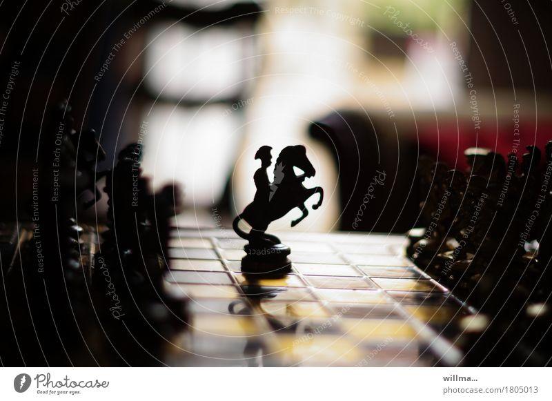 Don Quichote auf dem Schachbrett Schachfigur Freizeit & Hobby Spielen Pferd Reiter schwarz geduldig aufbäumen