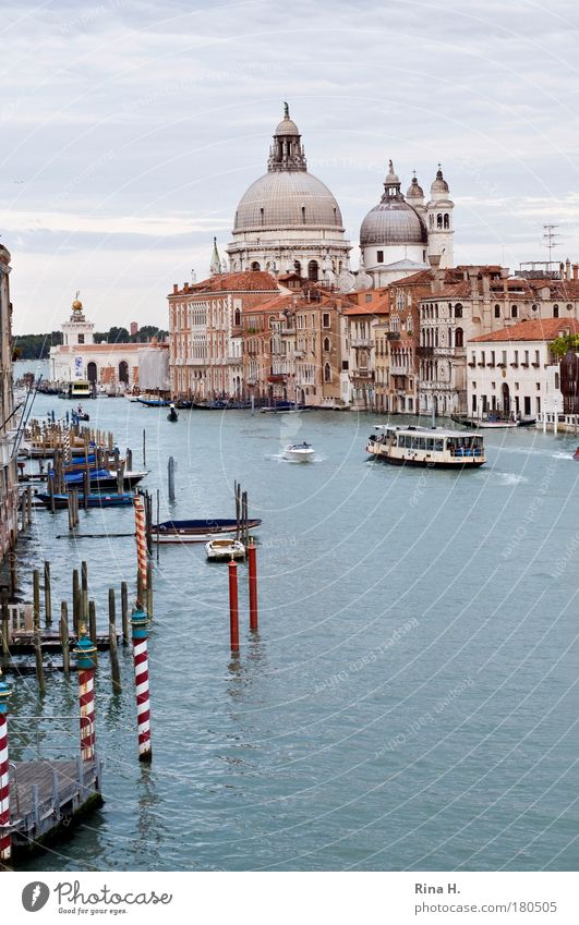 Bella Venezia - Postkarte alt blau Sommer Freude Ferien & Urlaub & Reisen Erholung braun Kunst Architektur Brücke Italien ästhetisch Kirche Tourismus