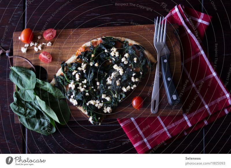 Popeyes Lunch Lebensmittel Gemüse Kräuter & Gewürze Pizza Spinat Spinatblatt Feta Käse Tomate Ernährung Essen Abendessen Bioprodukte Vegetarische Ernährung