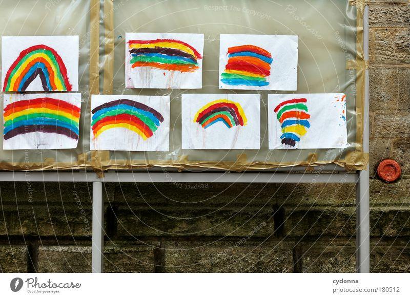 Somewhere over the Rainbow schön Freude Leben Glück Erde Design träumen Kindheit ästhetisch Kommunizieren Kreativität Lebensfreude Idee einzigartig Papier Zeichen
