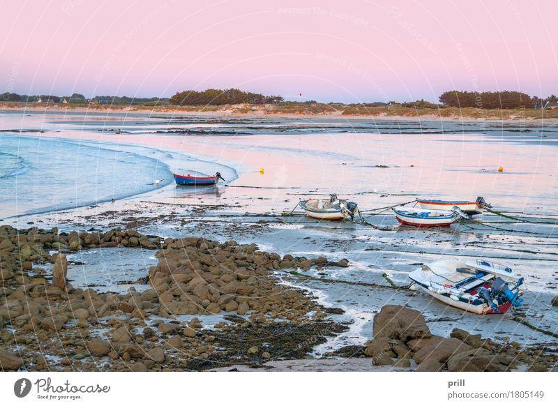 coastal evening in Brittany Strand Meer Landschaft Sand Wasser Felsen Küste Wasserfahrzeug Stein friedlich Idylle Bretagne Sonnenuntergang Atlantik