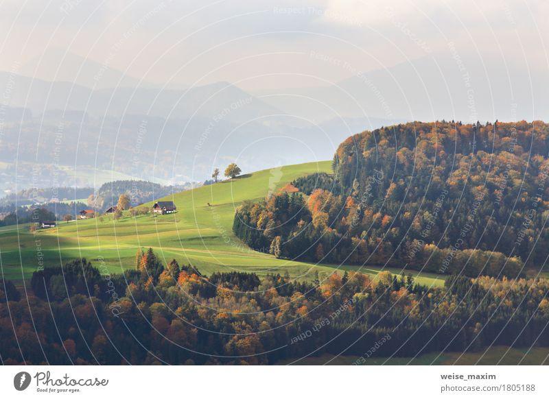 Natur Ferien & Urlaub & Reisen Sommer grün Baum Landschaft rot Haus Wald Berge u. Gebirge Straße gelb Wiese Herbst Deutschland Tourismus