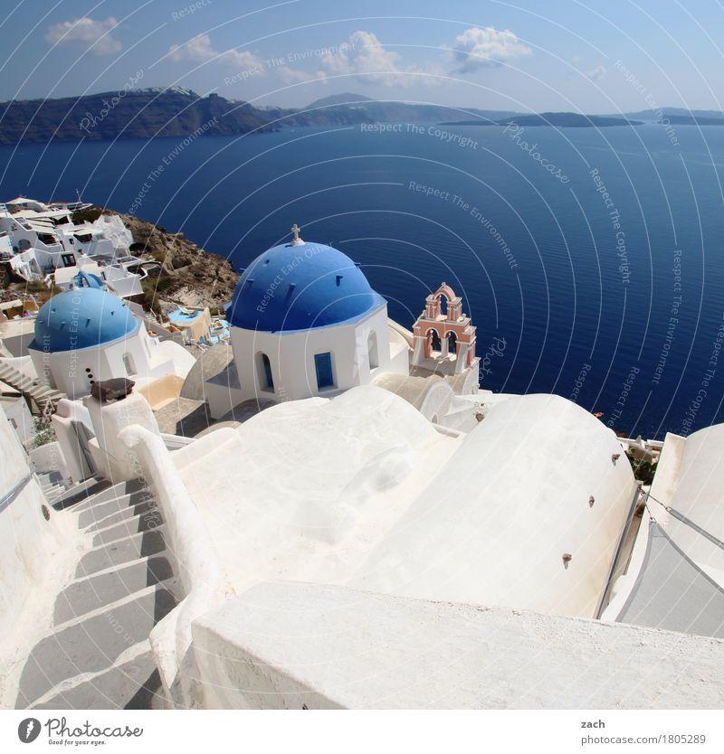 solange die kapelle spielt Ferien & Urlaub & Reisen Natur Wasser Wolkenloser Himmel Schönes Wetter Meer Mittelmeer Ägäis Insel Kykladen Santorin Caldera Oia