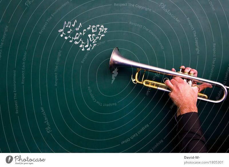 Musiker spielt Trompete mit Noten als Herz Leidenschaft Musikinstrument spielen emotional Gefühle Melodie Künstler art Kunst