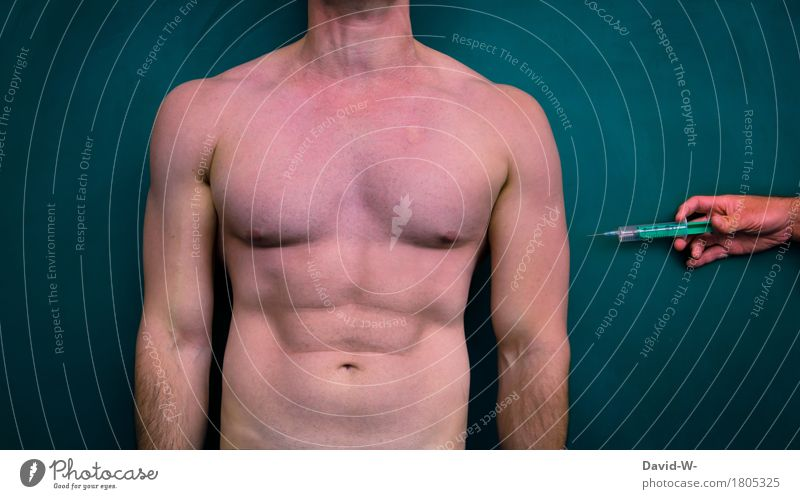 Spritze Mensch Jugendliche Mann nackt Junger Mann Erwachsene Leben Sport Gesundheit Gesundheitswesen maskulin Körper Arme Haut Fitness Krankheit