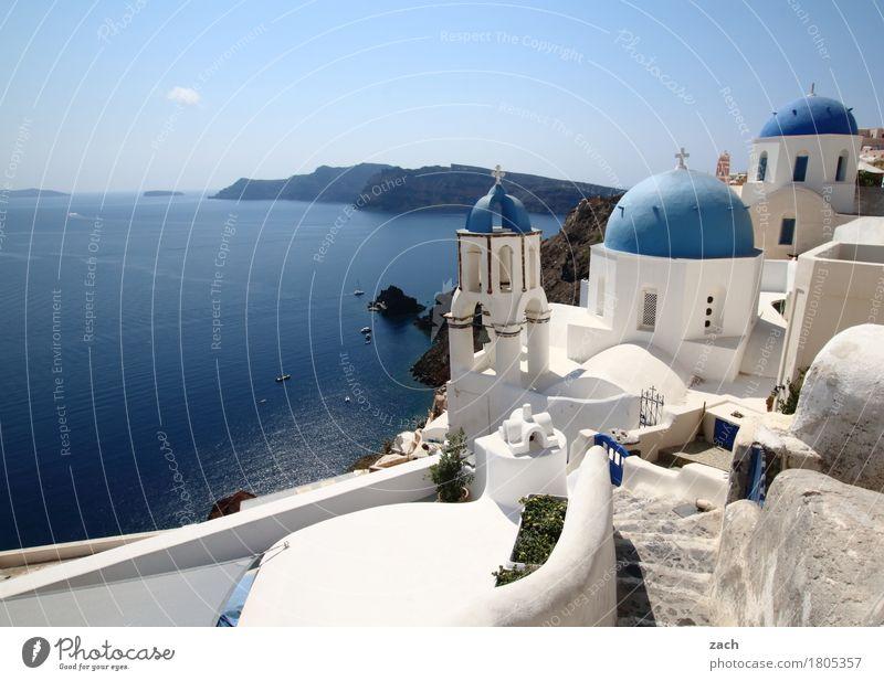 weiß und blau Ferien & Urlaub & Reisen Natur Wasser Wolkenloser Himmel Schönes Wetter Meer Mittelmeer Ägäis Insel Kykladen Santorin Caldera Oia Griechenland