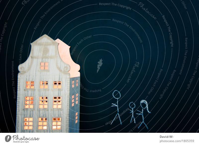 Zuhause Glück Häusliches Leben Wohnung Haus Umzug (Wohnungswechsel) Mensch maskulin feminin Kind Junge Frau Erwachsene Mann Eltern Mutter Vater
