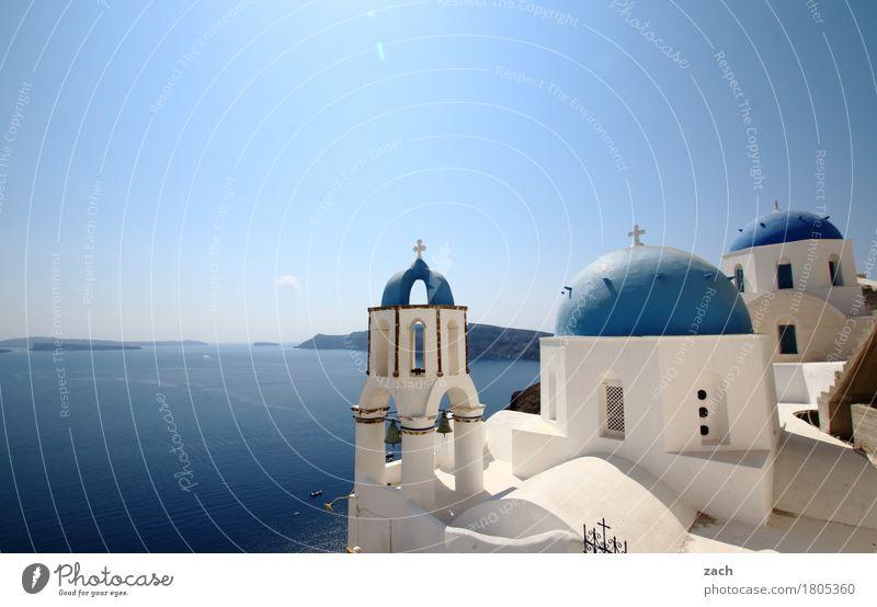 blau machen Ferien & Urlaub & Reisen Natur Wasser Wolkenloser Himmel Schönes Wetter Meer Mittelmeer Ägäis Insel Kykladen Santorin Caldera Oia Griechenland Dorf