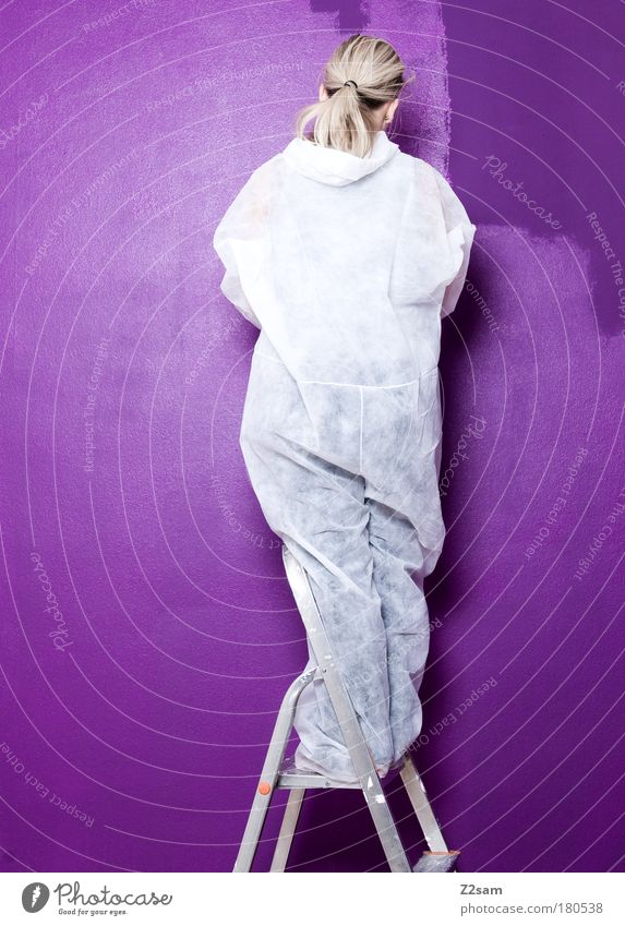 schöner wohnen Mensch Farbe Arbeit & Erwerbstätigkeit feminin Wand blond Wohnung modern violett streichen Anzug Mut Umzug (Wohnungswechsel) anstrengen Anstreicher langhaarig