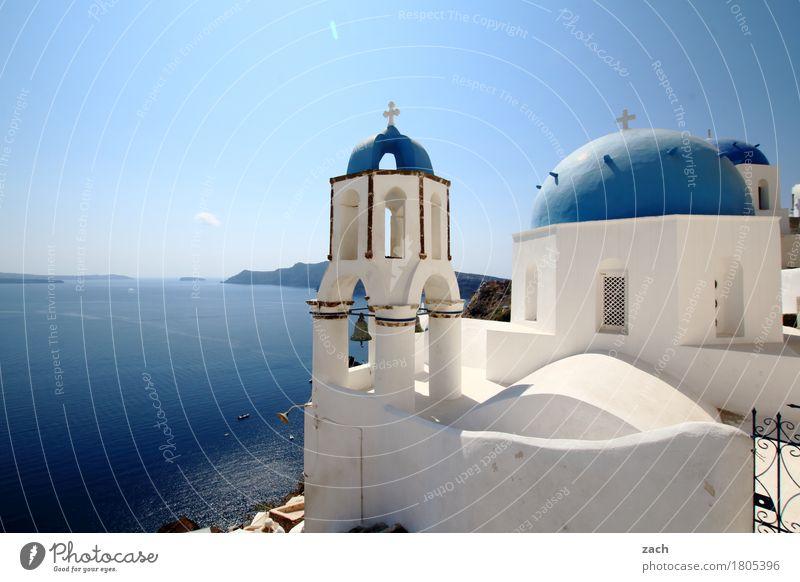 mehr blau als weiß Ferien & Urlaub & Reisen Natur Wasser Wolkenloser Himmel Schönes Wetter Meer Mittelmeer Ägäis Insel Kykladen Santorin Caldera Oia