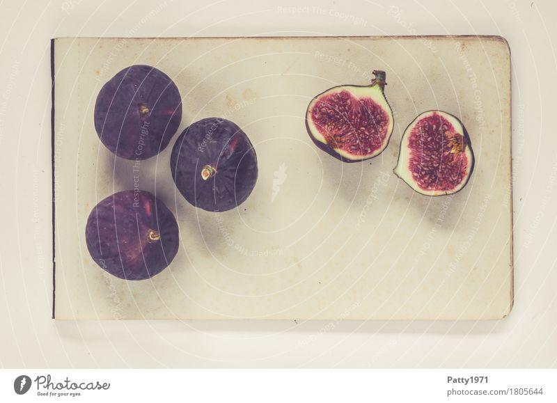 Feigen Lebensmittel Frucht Stillleben Ernährung Vegetarische Ernährung Papier Zettel frisch Gesundheit retro rund süß weich violett rot genießen Farbfoto