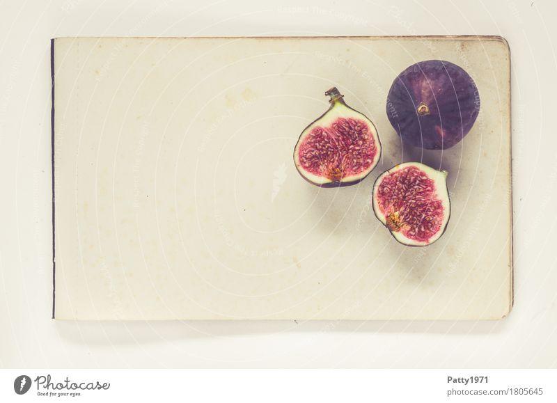 Feigen Lebensmittel Frucht Ernährung Vegetarische Ernährung Papier Zettel frisch Gesundheit retro rund saftig süß violett rot genießen Stillleben Farbfoto
