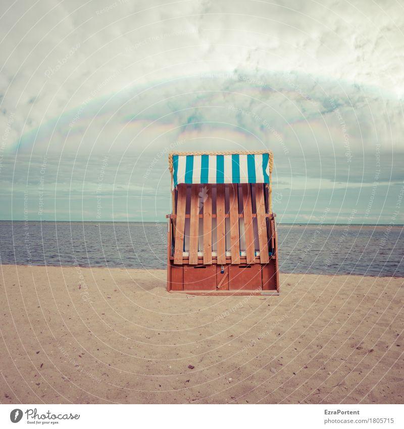 heiligenscheinender Strandkorb Himmel Natur Ferien & Urlaub & Reisen blau Sommer Meer Landschaft Erholung Wolken ruhig Ferne Umwelt Religion & Glaube Freiheit