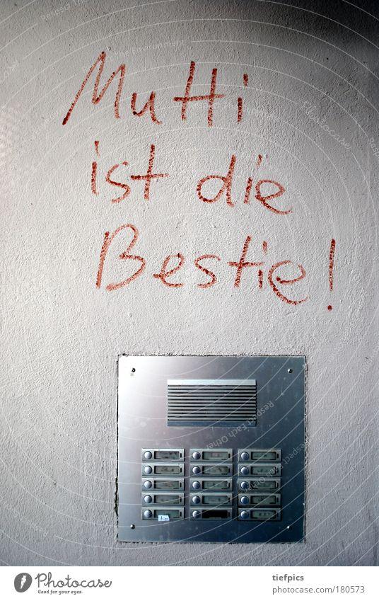mutti ist die bestie! Haus dunkel Wand Familie & Verwandtschaft Graffiti Gefühle Mauer grau Fassade trist Schilder & Markierungen Kindheit Schriftzeichen Wut