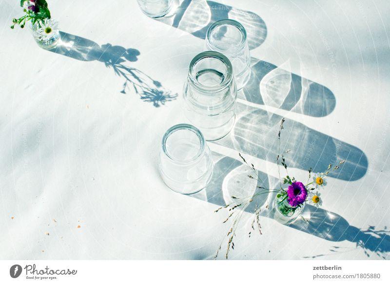 Gläser Sonne Blume Blüte Feste & Feiern Party Glas leer Tisch Romantik Getränk trinken Blumenstrauß Geschirr Bar Durst