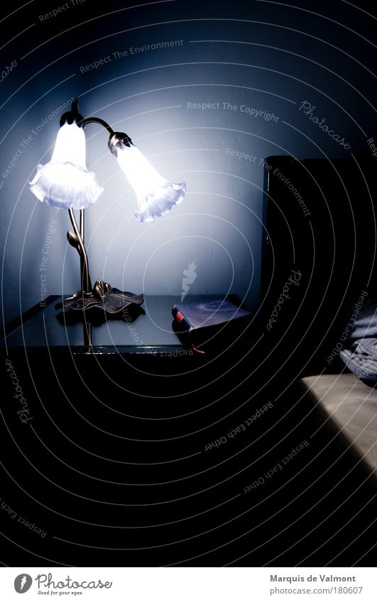 Nachtlektüre alt blau schwarz kalt Wand Mauer Stimmung Lampe Wohnung Buch Bett Kitsch Möbel Raum Müdigkeit