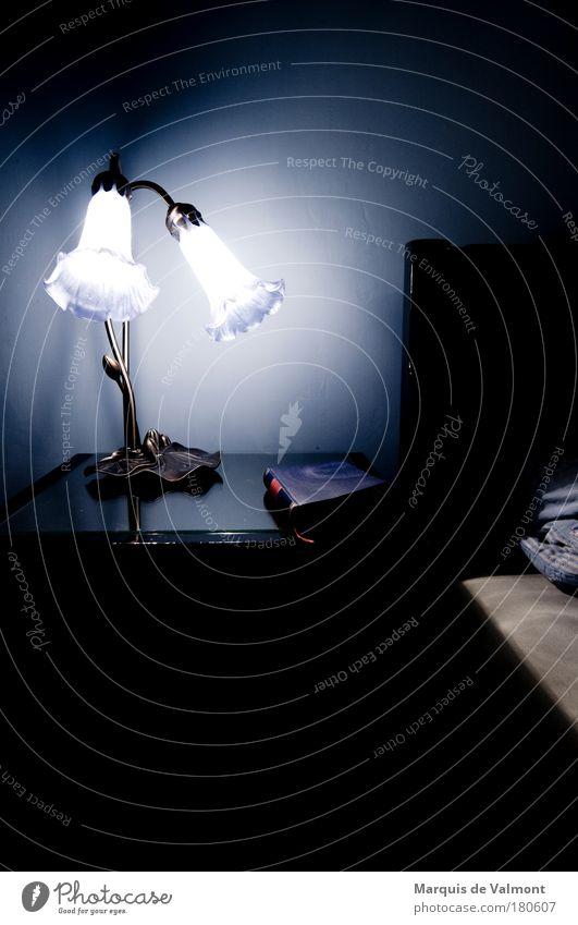 Nachtlektüre Farbfoto Innenaufnahme Menschenleer Textfreiraum unten Kunstlicht Kontrast Gegenlicht Wohnung Möbel Lampe Bett Schlafzimmer Buch Mauer Wand