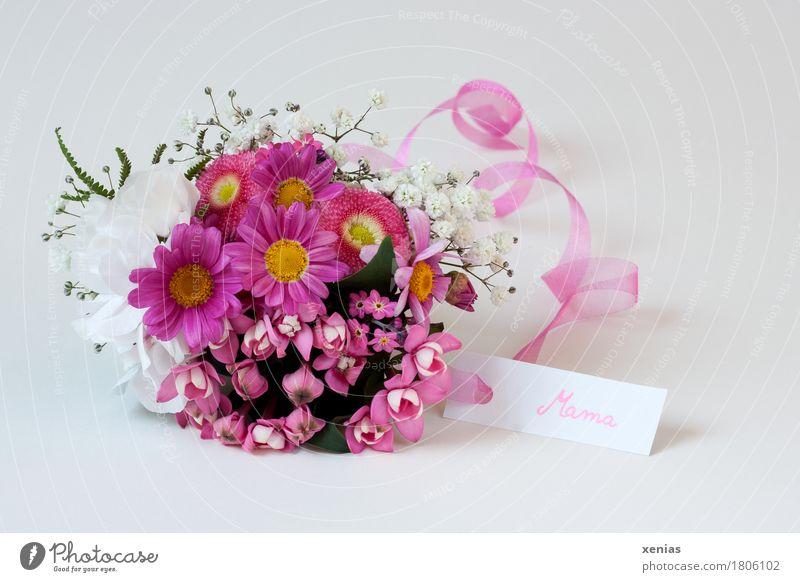 Blumenstrauß in weiß und rosa und Schild mit Aufschrift Mama Mutter Muttertag Dekoration & Verzierung Vergißmeinnicht Gänseblümchen Schleierkraut Bourvadie