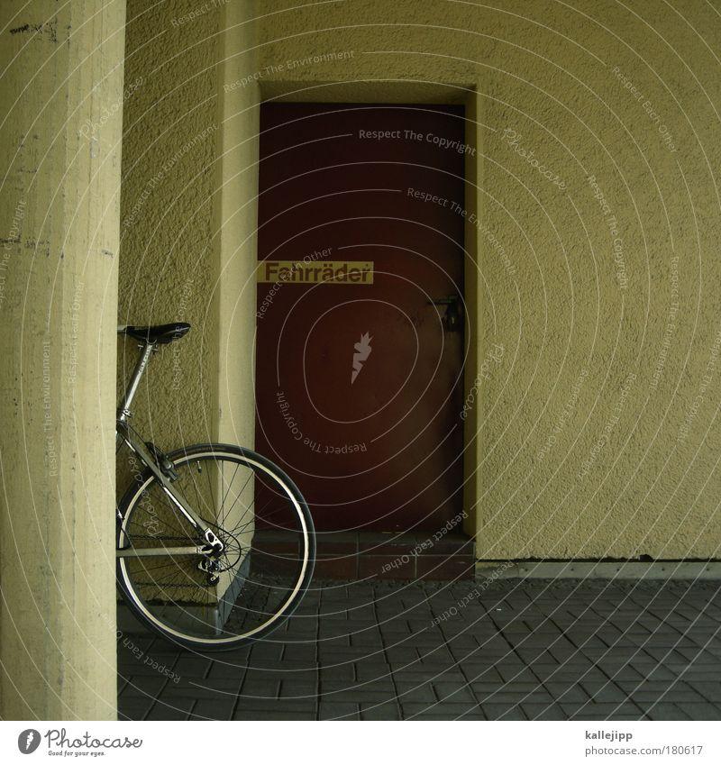 schatz du bleibst bei mir Haus Stil Tür Wohnung Fahrrad Freizeit & Hobby Schilder & Markierungen Design Verkehr authentisch Häusliches Leben Lifestyle Hinterteil Reifen Mieter Verkehrsmittel