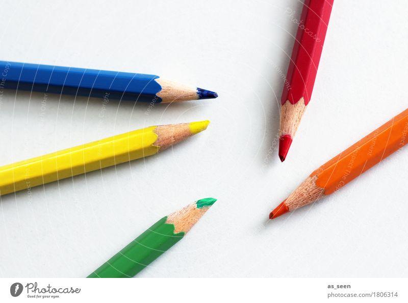 Mikado blau Farbe grün rot gelb Holz Kunst Schule orange Design Freizeit & Hobby Büro liegen Kindheit Kreativität Fröhlichkeit