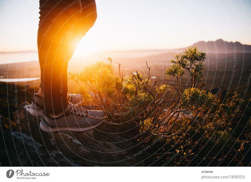 Nahaufnahme des stilvollen Turnschuhs in der Natur Sommer Sonne Landschaft Berge u. Gebirge Wärme Sport Mode Fuß Textfreiraum wandern gold stehen Schuhe Fitness