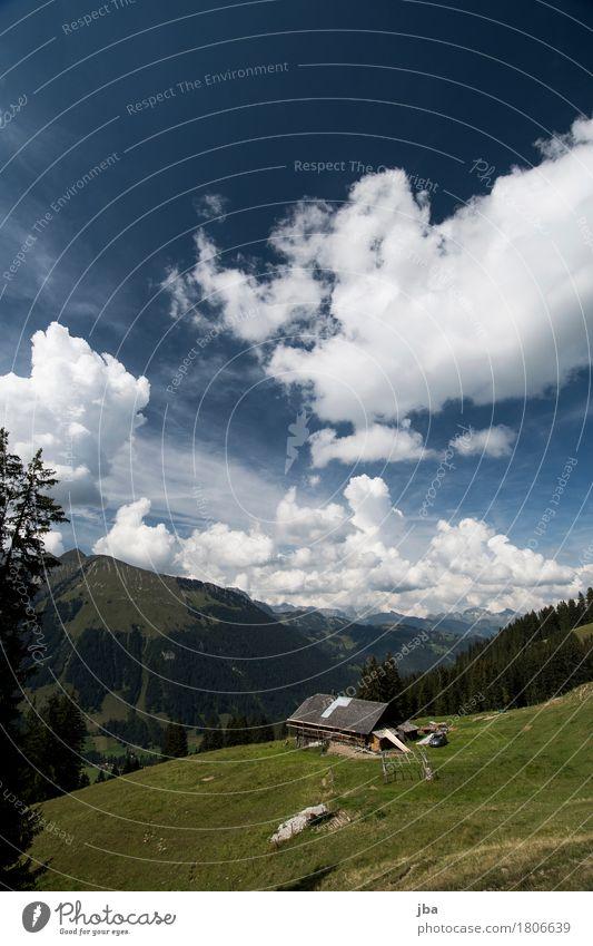 Alphütte Himmel Natur blau Landschaft ruhig Berge u. Gebirge Herbst Freizeit & Hobby Zufriedenheit Luft wandern Ausflug Aussicht Schönes Wetter Urelemente