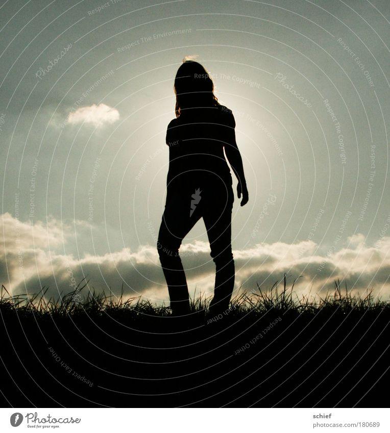 über den wolken Mensch Himmel Natur Jugendliche Sonne ruhig Erwachsene Landschaft feminin grau Gras Körper Feld frei 18-30 Jahre Junge Frau