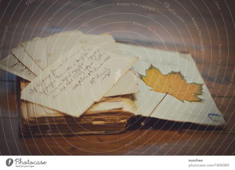 altes buch VII Buch Bucheinband Buchseite lesen schreiben Handschrift Schriftstück Brief Schriftwechsel Printmedien Herbst gemütlich Papier retro dunkel
