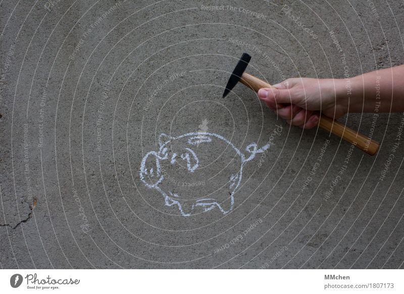Aus dem Hinterhalt Hand Graffiti grau kaufen planen Geld rennen Reichtum Verzweiflung bezahlen Aggression Kindererziehung sparen stagnierend Selbstständigkeit
