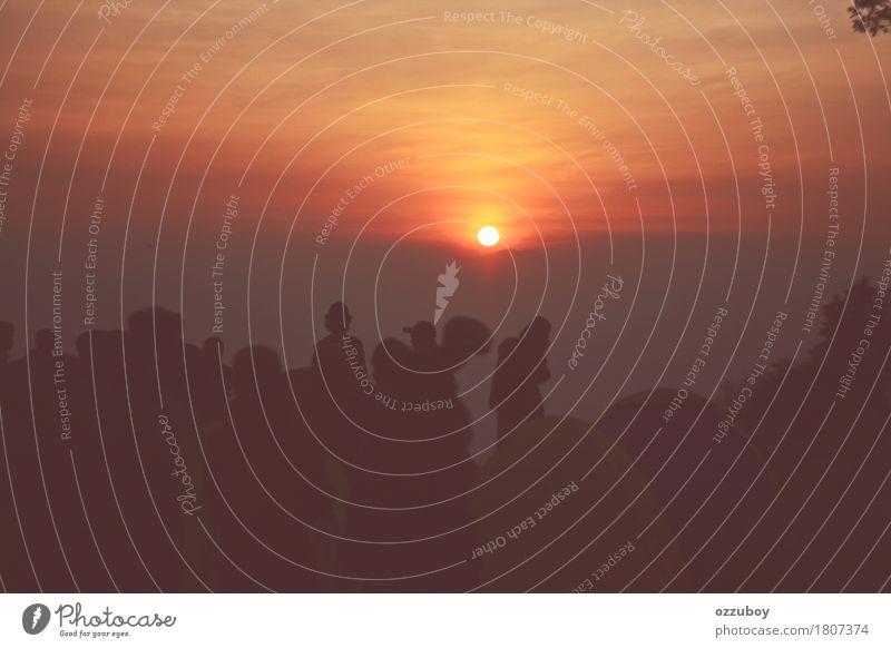 Sonnenaufgang im Berg Freude Freizeit & Hobby Ferien & Urlaub & Reisen Tourismus Ausflug Sommer Berge u. Gebirge wandern Mensch Leben Menschengruppe