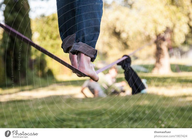 Seil, Füße, Slacking Gleichgewicht Slacklinen Seiltänzer Mann Fuß Beine 18-30 Jahre 1 Mensch Schönes Wetter Park Baum Avignon Stadt Jeanshose Barfuß Gurt
