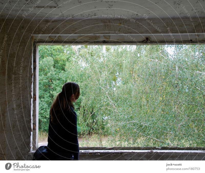 Blick ins Grüne aus einem verlorenen Ort Raum Junge Frau Jugendliche 1 Mensch Natur Tier Baum Ruine Plattenbau Fenster Beton beobachten stehen authentisch eckig