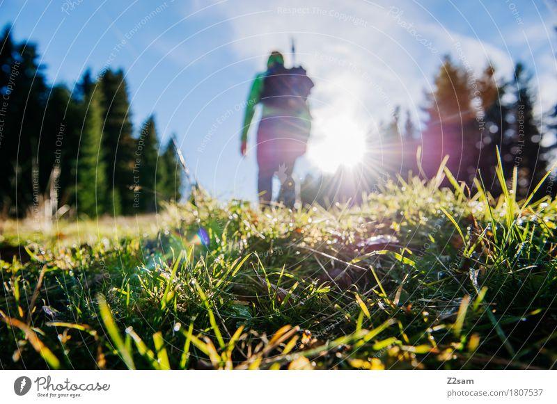 Aufwärts Lifestyle wandern Ferien & Urlaub & Reisen Ausflug Abenteuer 18-30 Jahre Jugendliche Erwachsene Sonne Schönes Wetter Wiese Alpen Berge u. Gebirge