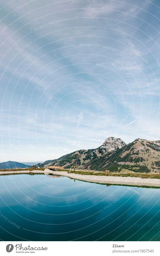 Sudelfeld Speichersee Himmel Natur blau Sommer Landschaft Einsamkeit ruhig Berge u. Gebirge Umwelt natürlich Freiheit See wandern frisch Idylle ästhetisch
