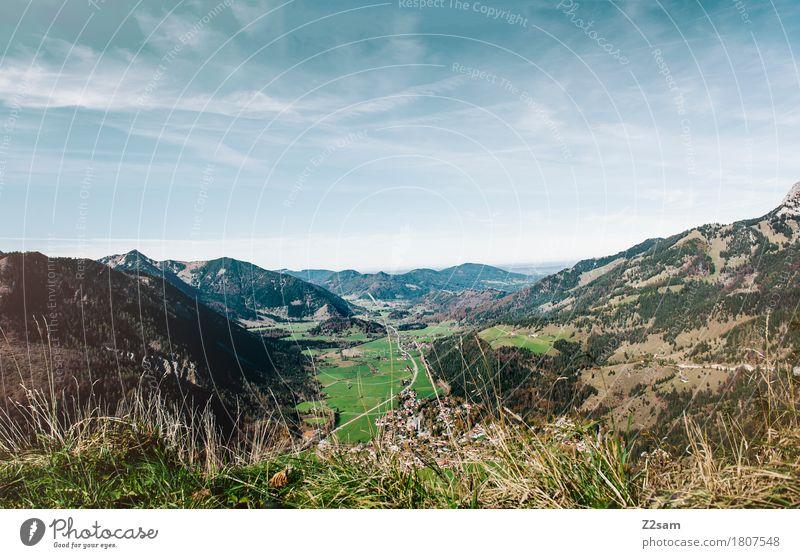 Bayrischzell wandern Natur Landschaft Himmel Sommer Schönes Wetter Wiese Alpen Berge u. Gebirge gigantisch Unendlichkeit natürlich blau grün Erholung Farbe