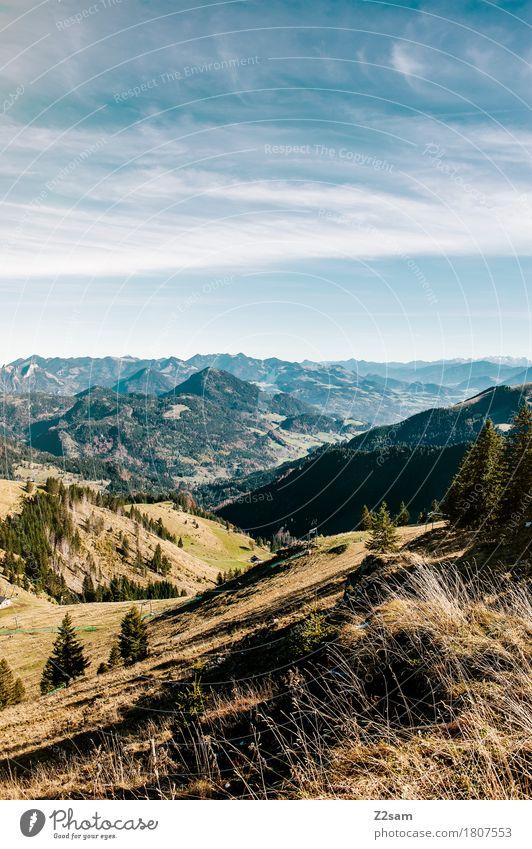 Oh du schönes Bayernland wandern Umwelt Natur Landschaft Himmel Wolken Sommer Schönes Wetter Alpen Berge u. Gebirge Ferne frisch nachhaltig natürlich blau grün