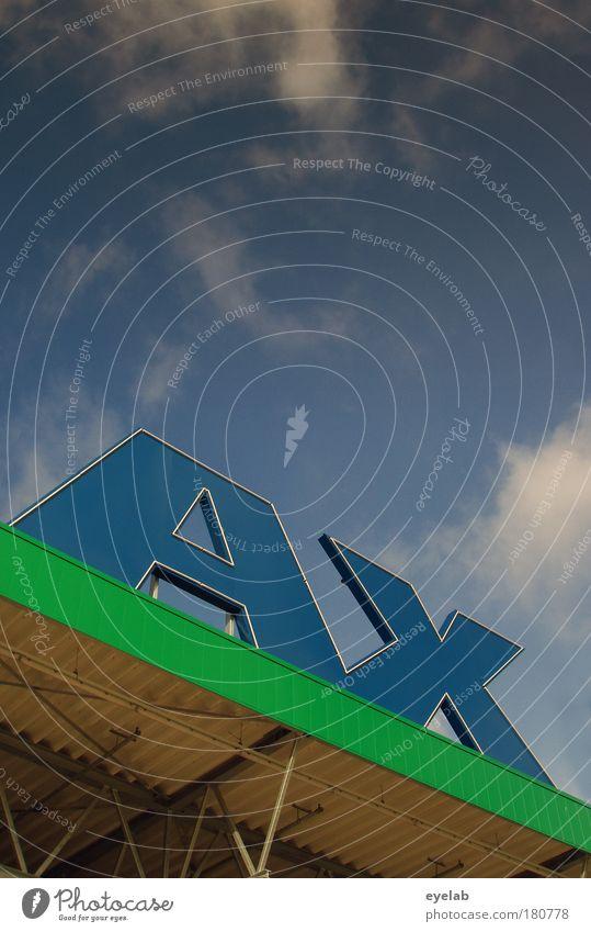 AX Himmel blau grün Wolken Haus oben Wetter Klima Schilder & Markierungen hoch groß Schriftzeichen Dach Kommunizieren Zeichen Schönes Wetter