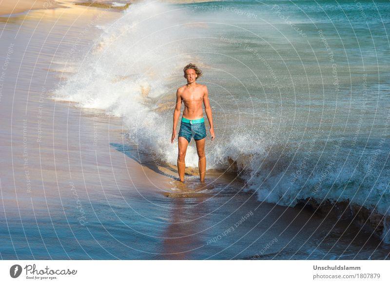 Cold Water Mensch Natur Ferien & Urlaub & Reisen Jugendliche Sommer schön Wasser Junger Mann Meer Strand Umwelt kalt Leben Lifestyle Sport Küste