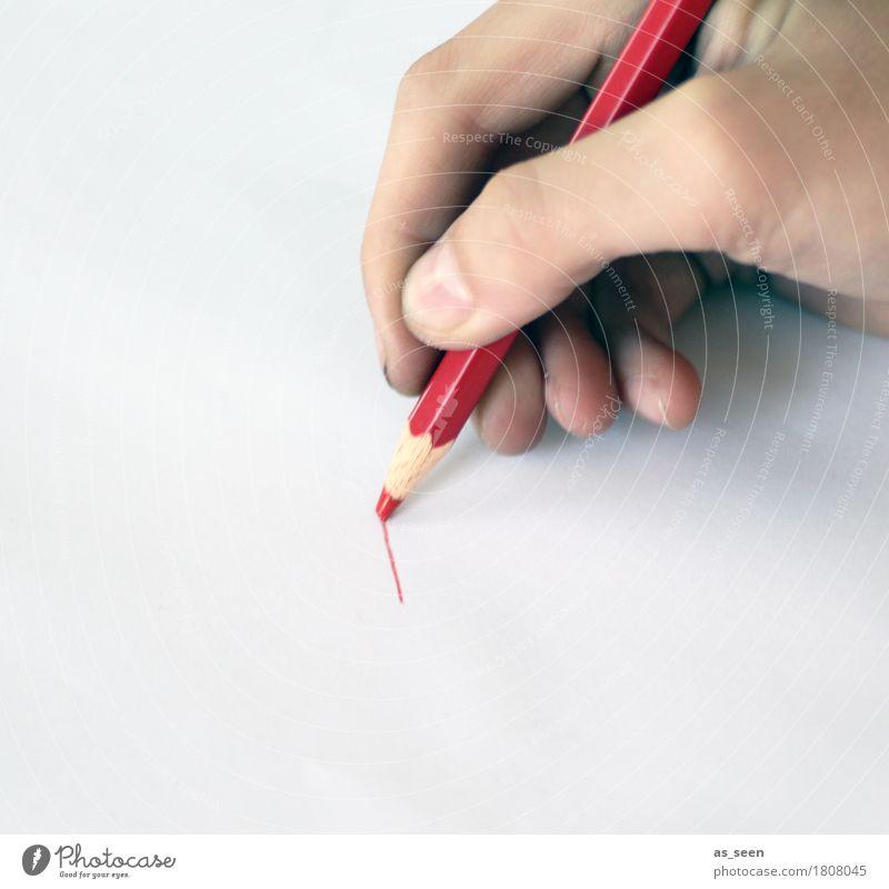 Einen roten Strich ziehen Kind Leben Hand Finger 1 Mensch Kunst Printmedien Schreibwaren Papier Schreibstift festhalten zeichnen authentisch einfach einzigartig