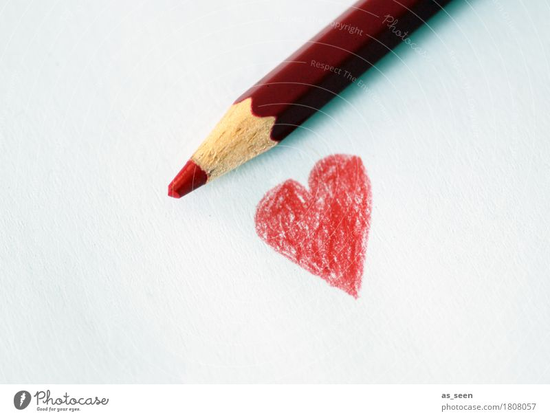 Liebe zum Wegradieren Kind Farbe weiß rot Gefühle Lifestyle Holz Freundschaft Freizeit & Hobby liegen Geburtstag Kreativität Herz einfach Papier