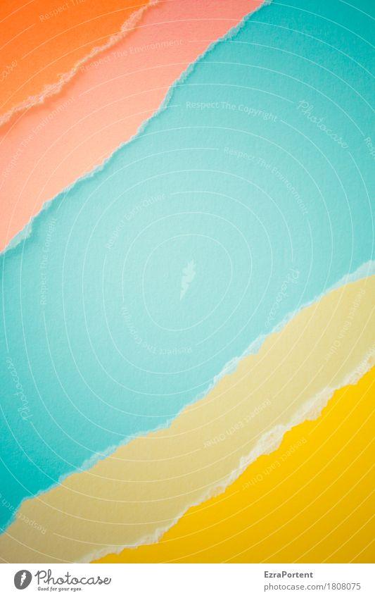 o~o~B~g~g Stil Design Dekoration & Verzierung Kunst Papier Zeichen Linie Streifen hell blau gelb orange türkis Farbe Werbung Riss Am Rand Fluss