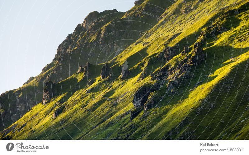 Mountain crag in the evening sun Natur Sommer grün Landschaft Berge u. Gebirge Gras Felsen wild wandern ästhetisch Kraft Abenteuer Schönes Wetter entdecken