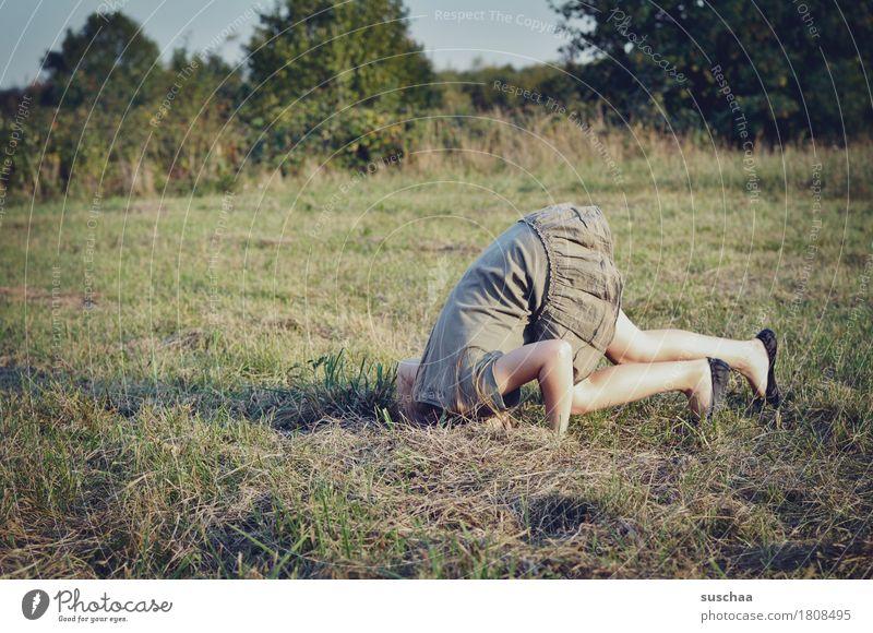alice alice im wunderland rabbithole Wiese Feld Kind Kindheit wild frei Mädchen Sommer Neugier entdecken Loch Turnen Handstand sportlich verschwinden verstecken