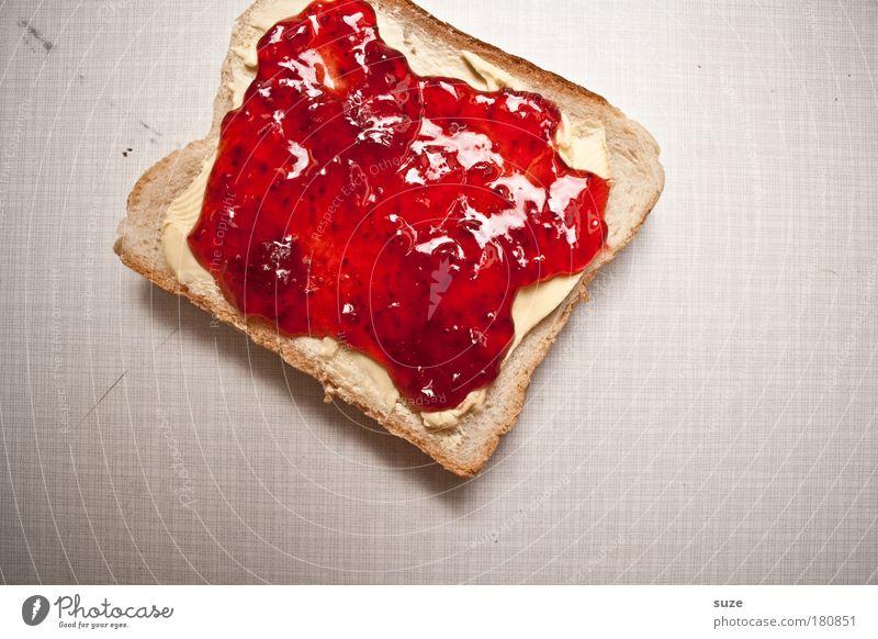 Ein Toast ... rot Lebensmittel Ernährung Tisch süß Appetit & Hunger Frühstück lecker Brot Bioprodukte Backwaren Fasten Vegetarische Ernährung Geschmackssinn fruchtig Marmelade