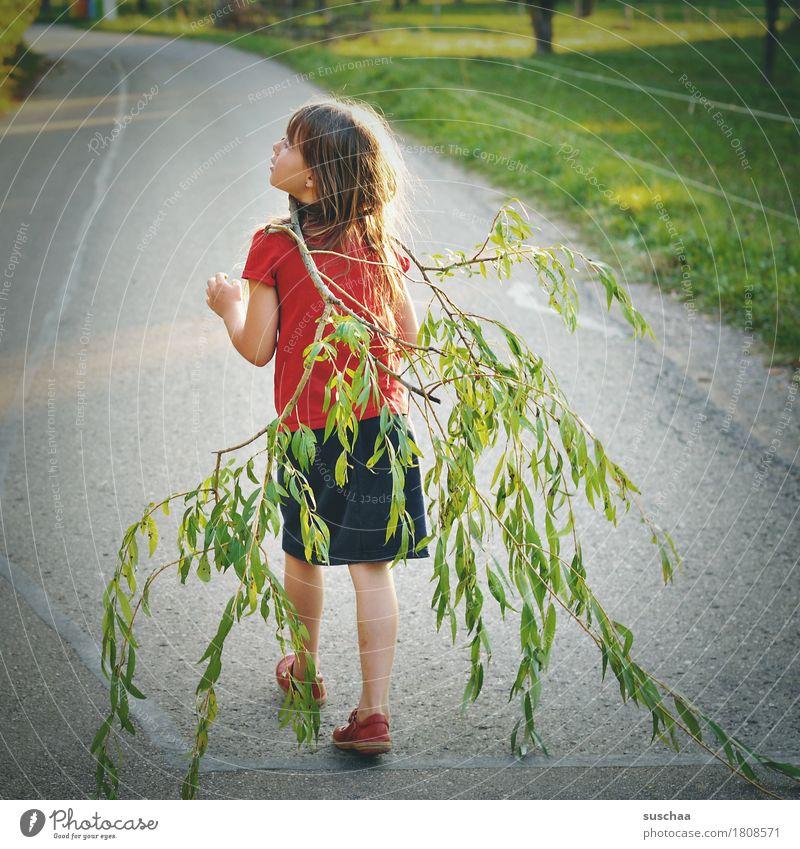 mädchen, das einen ast spazierenträgt | chamansülz Kind Mädchen Kindheit Sommer Straße laufen Ast Blatt Spaziergang Spazierweg Ausflug Kindererziehung Freiheit