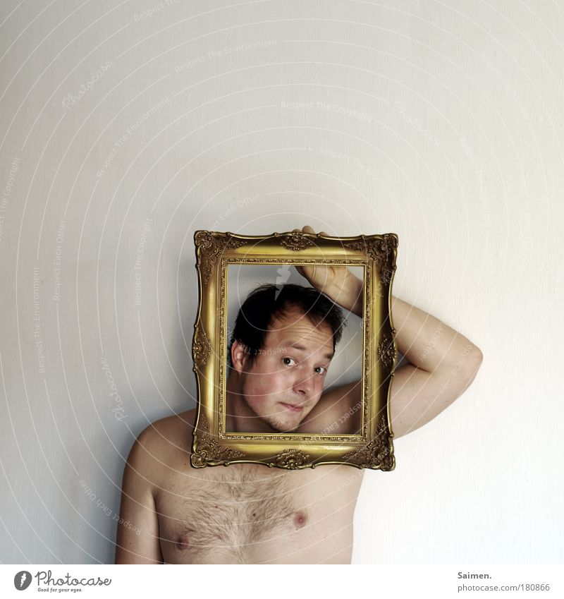 gute Miene zum ... Mensch Mann Freude Erwachsene Kopf lustig Körper gold maskulin Gold verrückt Kreativität festhalten Kitsch geheimnisvoll Idee