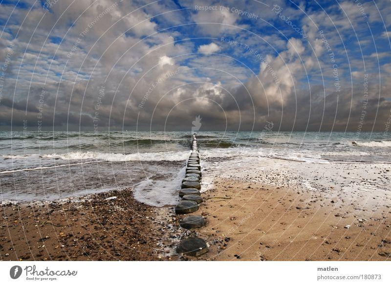 Ostmeer Landschaft Urelemente Luft Wasser Himmel Wolken Gewitterwolken Horizont Sonnenlicht Herbst Klima Klimawandel Wetter Schönes Wetter schlechtes Wetter