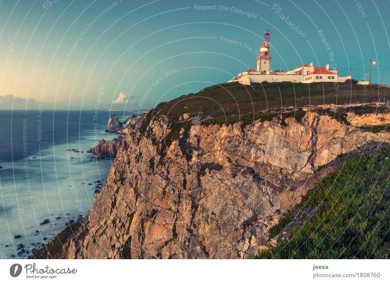 Cabo da Roca Himmel blau grün weiß Landschaft Meer rot Wolken Küste braun Felsen Wellen hoch Schönes Wetter Sicherheit Ziel