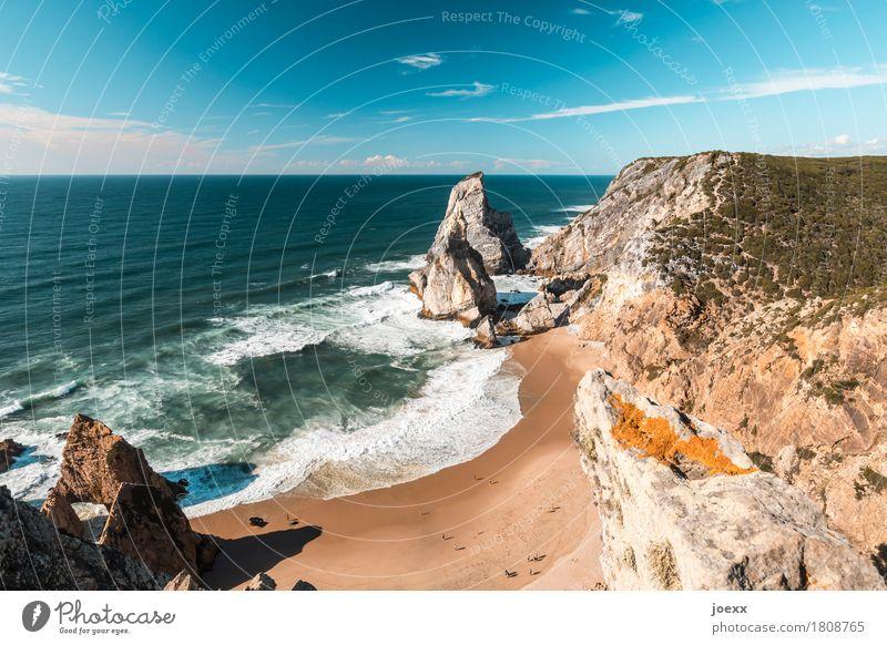 Ursa Beach Himmel blau Sommer Wasser weiß Meer Landschaft Strand Küste braun Felsen Horizont Wellen Idylle hoch Schönes Wetter