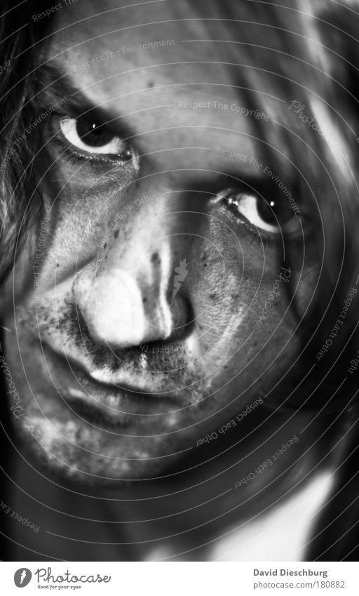 Monday morning Mensch Jugendliche Erwachsene Gesicht Auge Haare & Frisuren Kopf Junger Mann 18-30 Jahre Mund maskulin Nase einzeln Lippen Bart böse